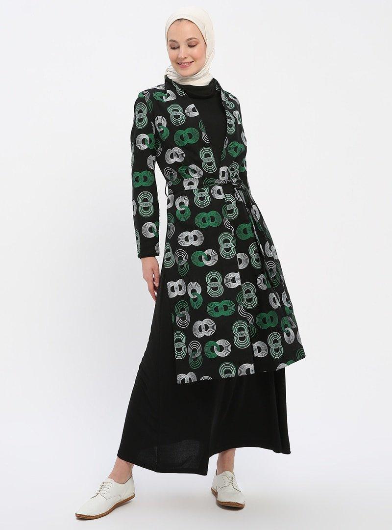 Nilüfer Kamacıoğlu Siyah Yeşil Elbise&Kap İkili Takım