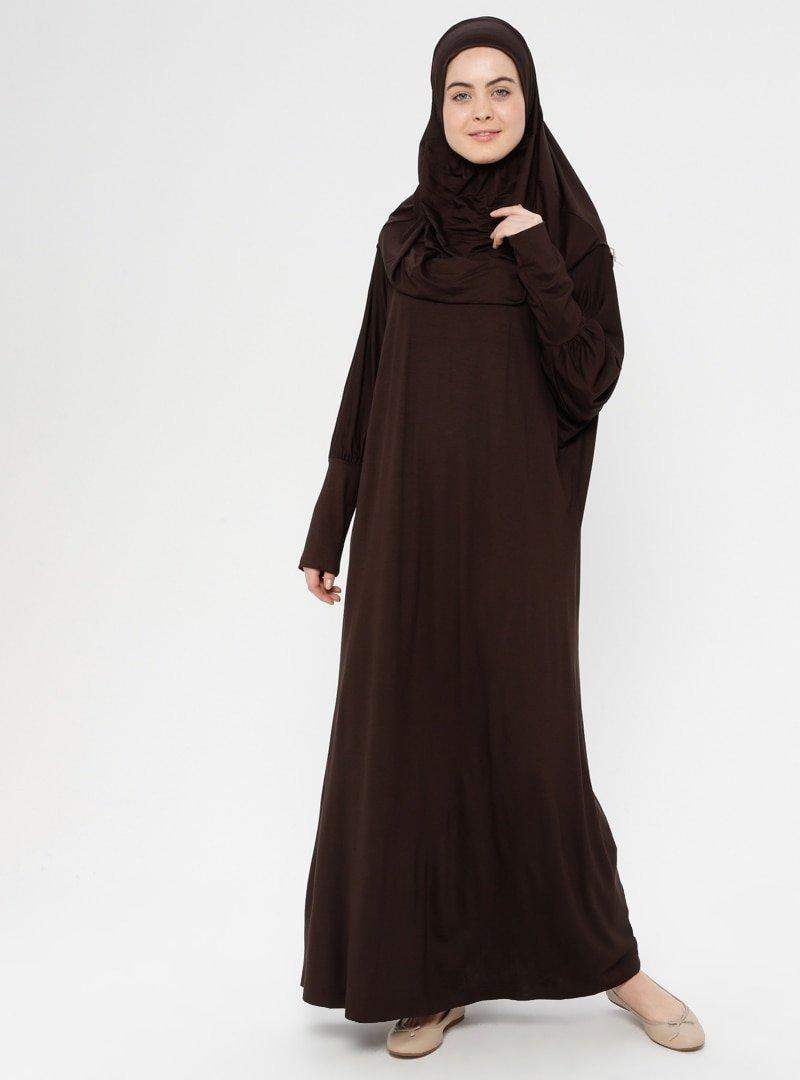 Hal-i Niyaz Kahverengi Tek Parça Namaz Elbisesi