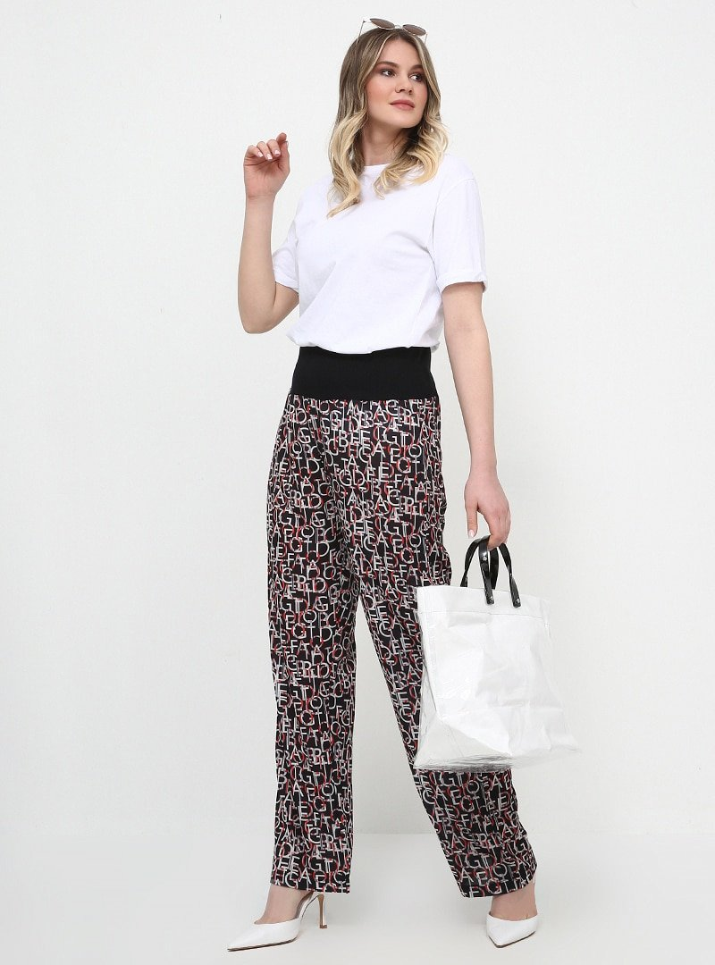 Alia Siyah Desenli Pantolon