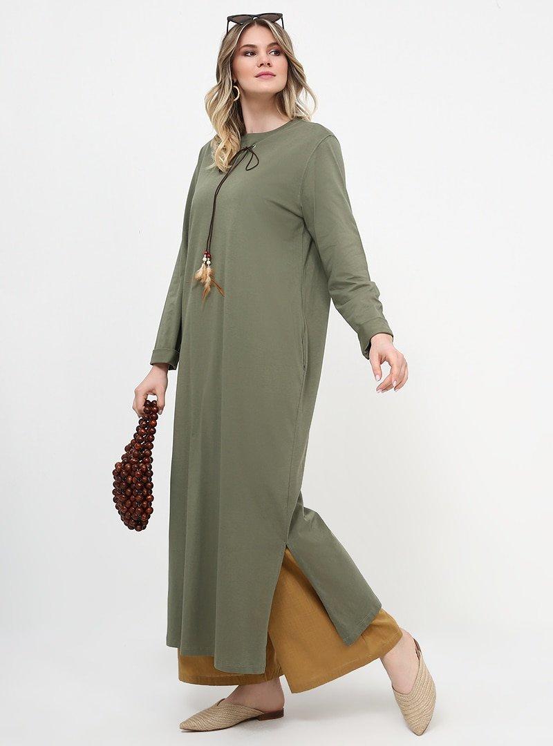 Alia Haki Yakası Bağcıklı Uzun Tunik