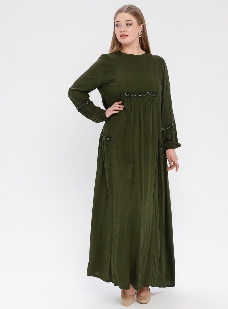 Ginezza Haki Dantel Detaylı Elbise