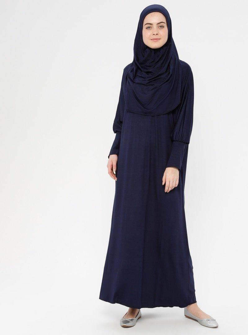 Hal-i Niyaz Lacivert Tek Parça Namaz Elbisesi