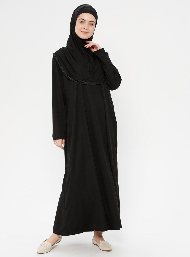 Hal-i Niyaz Siyah Tek Parça Namaz Elbisesi