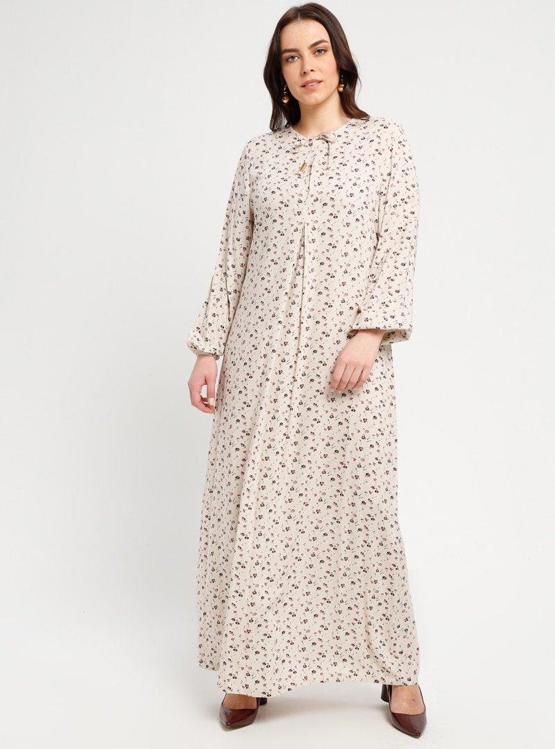 Ginezza Krem Desenli Elbise