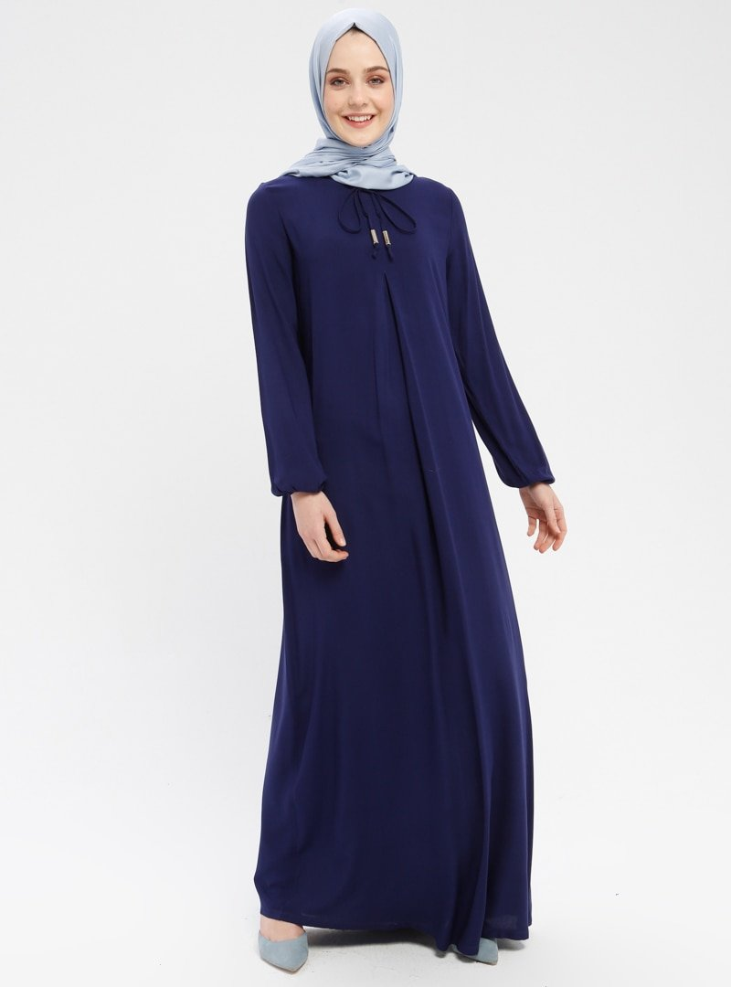 Ginezza Lacivert Yakası Bağcıklı Elbise