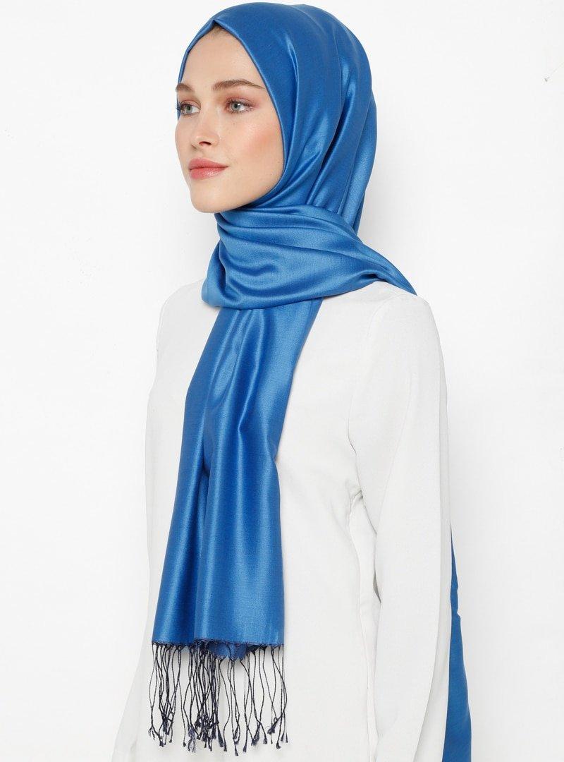 Silk Home Mavi Düz Renk İpek Şal