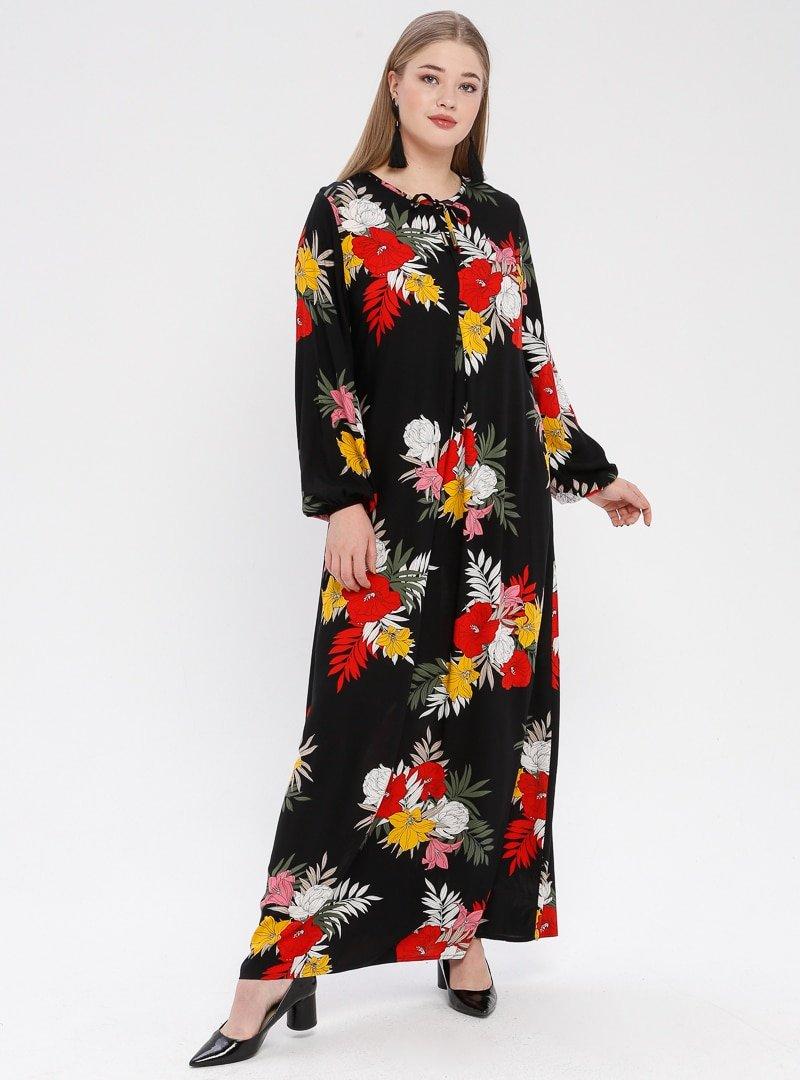 Ginezza Siyah Çiçek Desenli A Pile Elbise