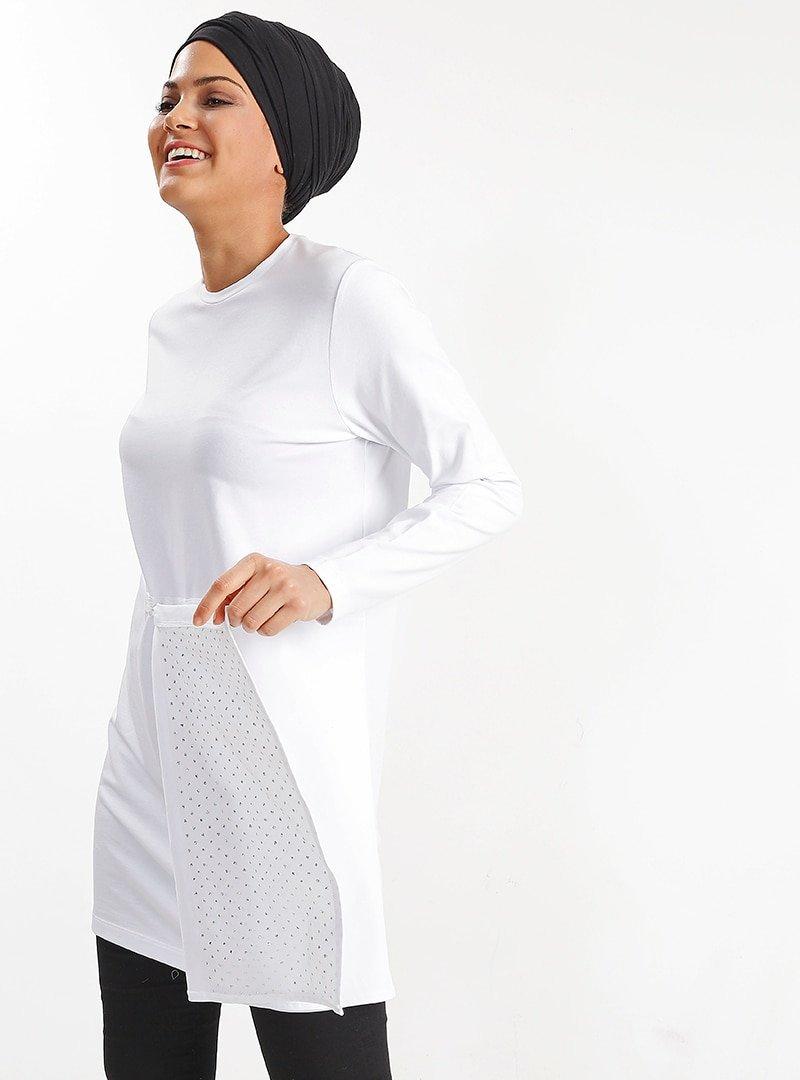 PLİSTRE Beyaz Çıtçıt Detaylı Tunik