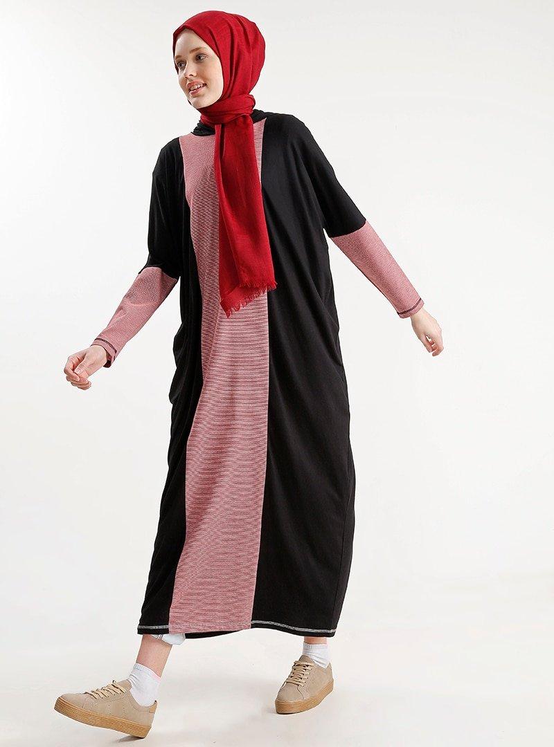 PLİSTRE Kırmızı Siyah Salaş Elbise