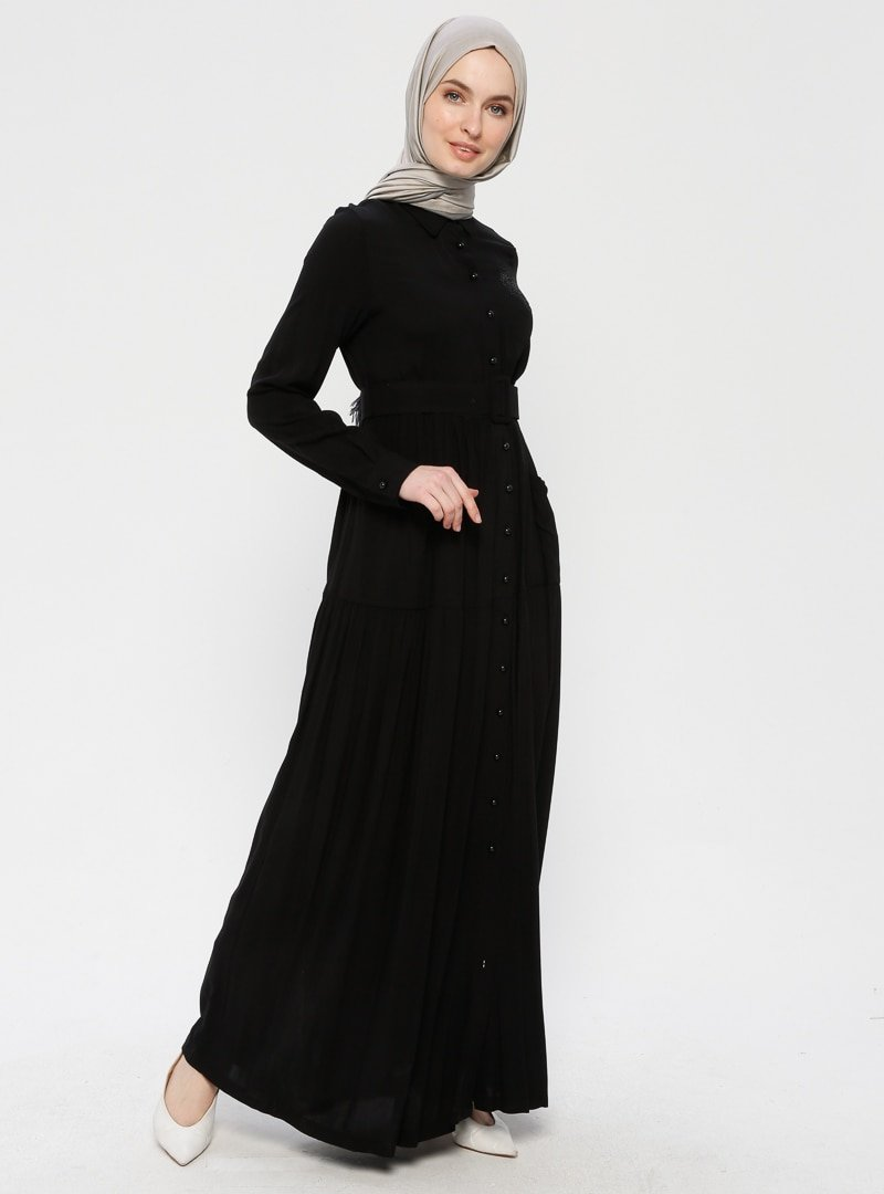 Ginezza Siyah Drop Baskılı Cepli Elbise