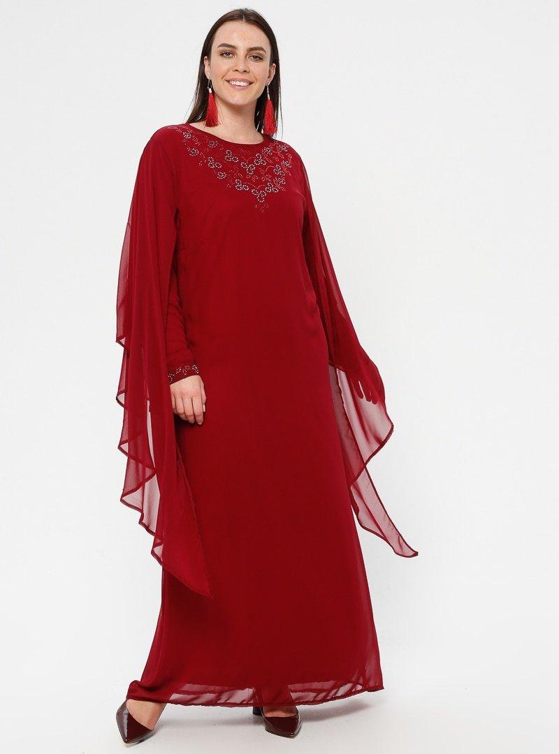 Simetrik Moda Bordo Şifon Detaylı Abiye Elbise