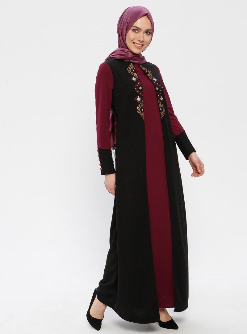 Duru Giyim Siyah Nakış ve Boncuk Detaylı Elbise