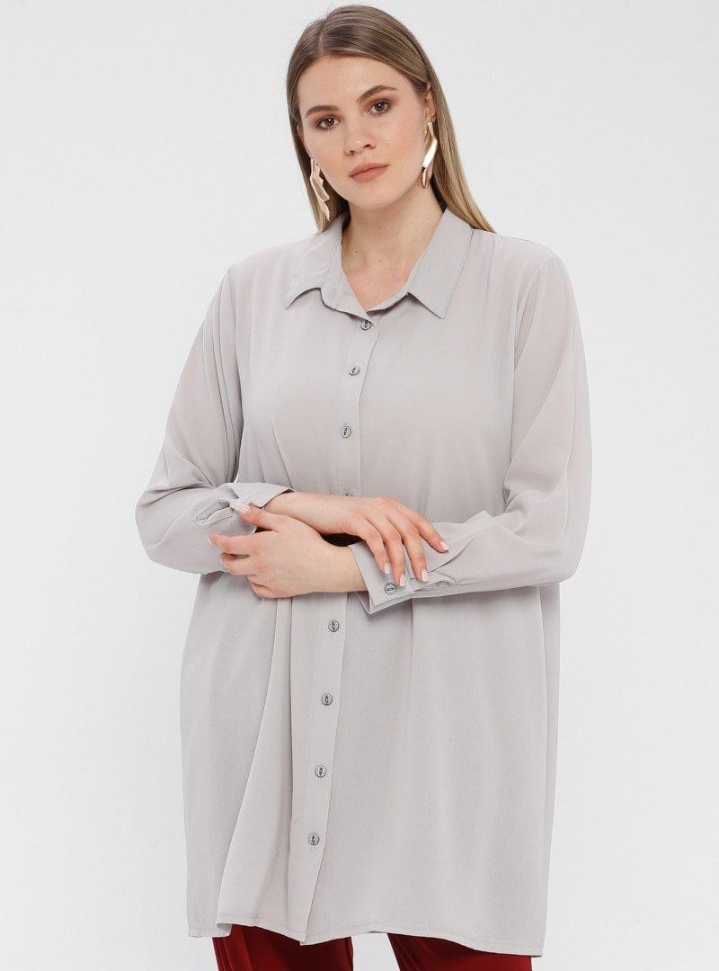 Genç Style Gri Uzun Gömlek