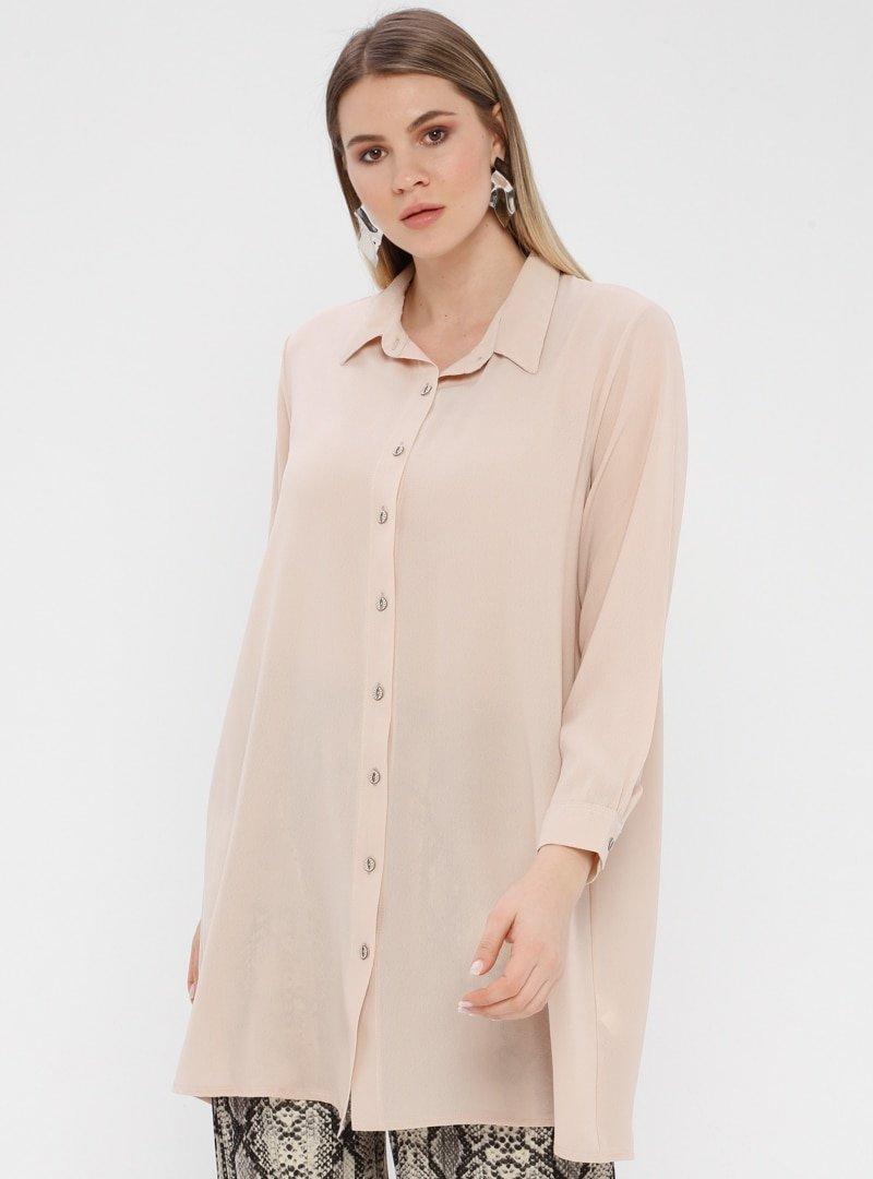 Genç Style Krem Uzun Gömlek