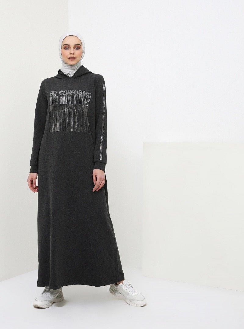 Benin Antrasit Drop Baskılı Kapüşonlu Elbise
