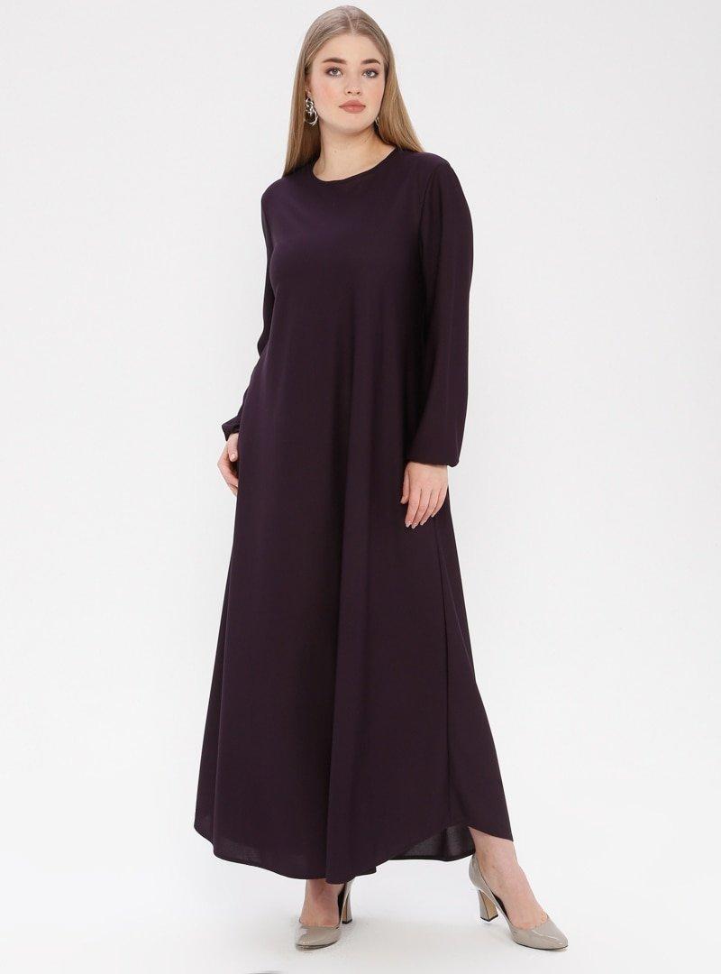 ECESUN Mürdüm Bilekleri Lastikli Elbise