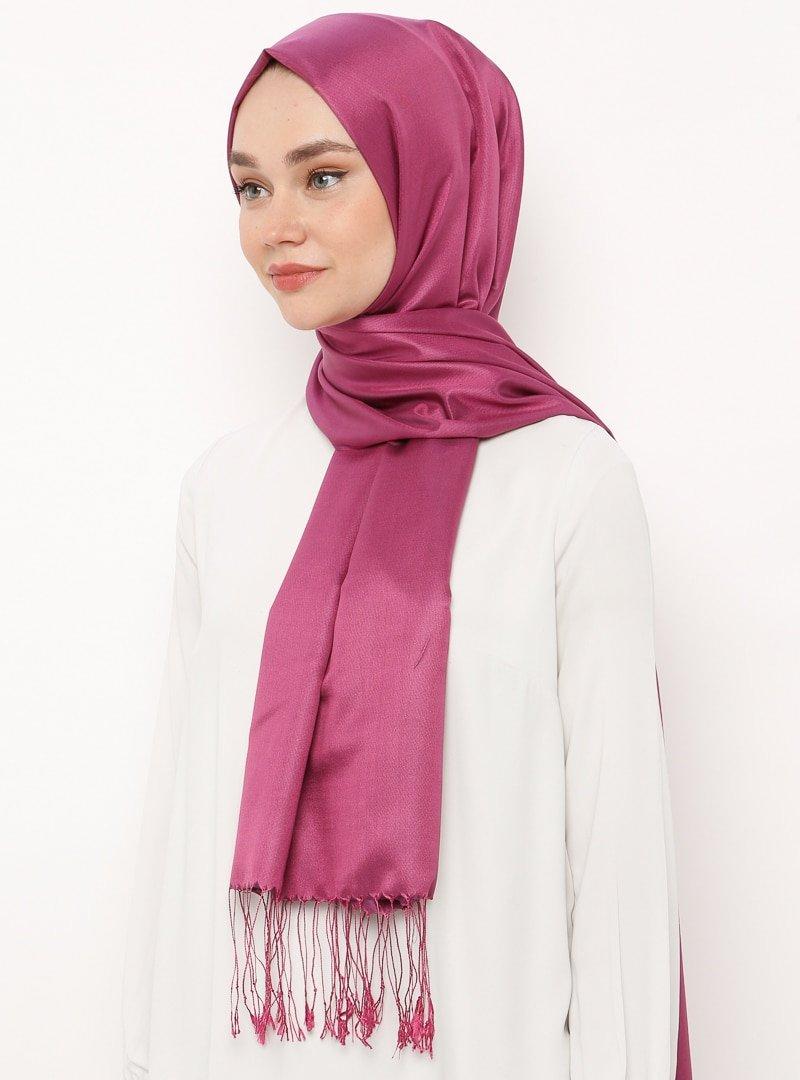 Silk Home Fuşya Düz Renk İpek Şal
