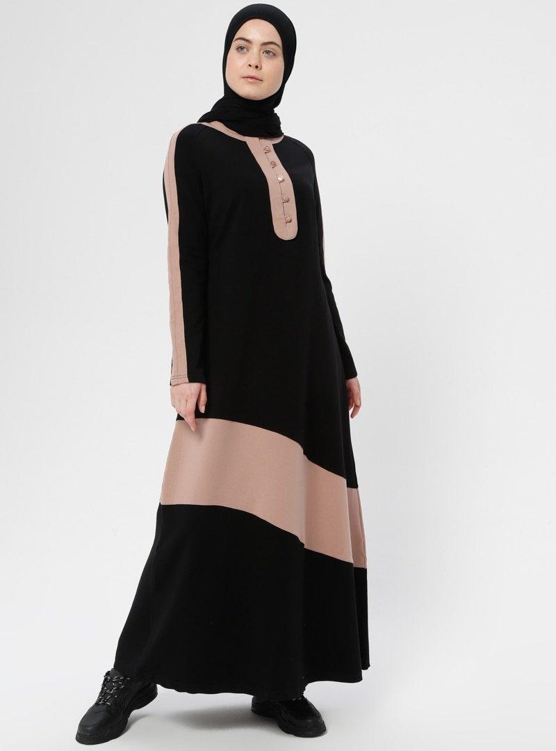 Shukr Siyah Somon Düğme Detaylı Spor Elbise