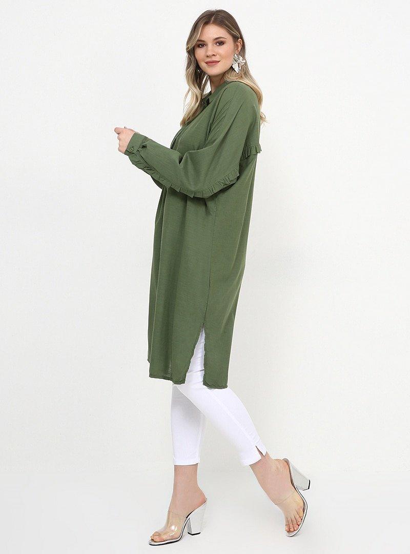 Alia Soft Haki Doğal Kumaşlı Fırfır Detaylı Tunik