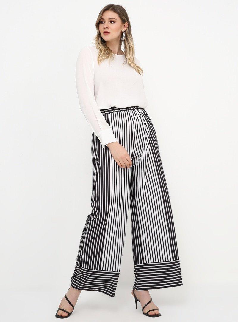 Alia Siyah Beyaz Beli Lastikli Geniş Paça Pantolon