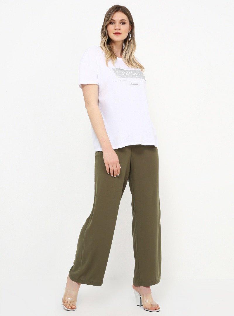 Alia Soft Haki Geniş Paça Pantolon