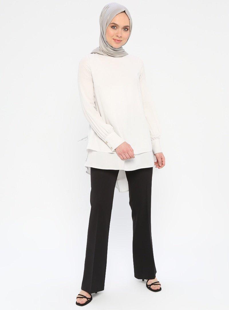 Nihan Siyah Cepleri Düğme Detaylı Pantolon