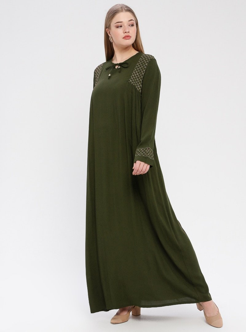 Ginezza Haki Taş Detaylı Elbise