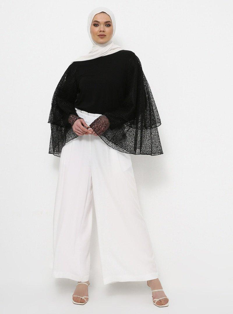 Rabia Z X Modanisa Siyah Doğal Kumaşlı Dantelli İspanyol Kollu Tunik