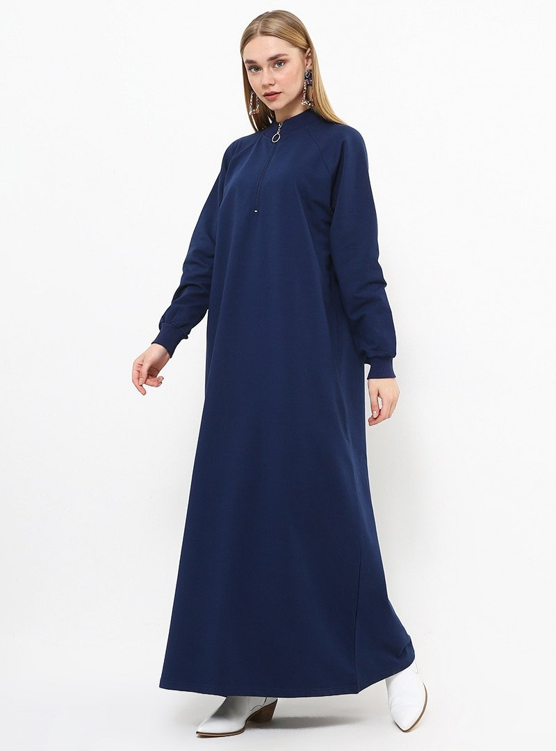 Everyday Basic Açık Lacivert Fermuar Detaylı Spor Elbise