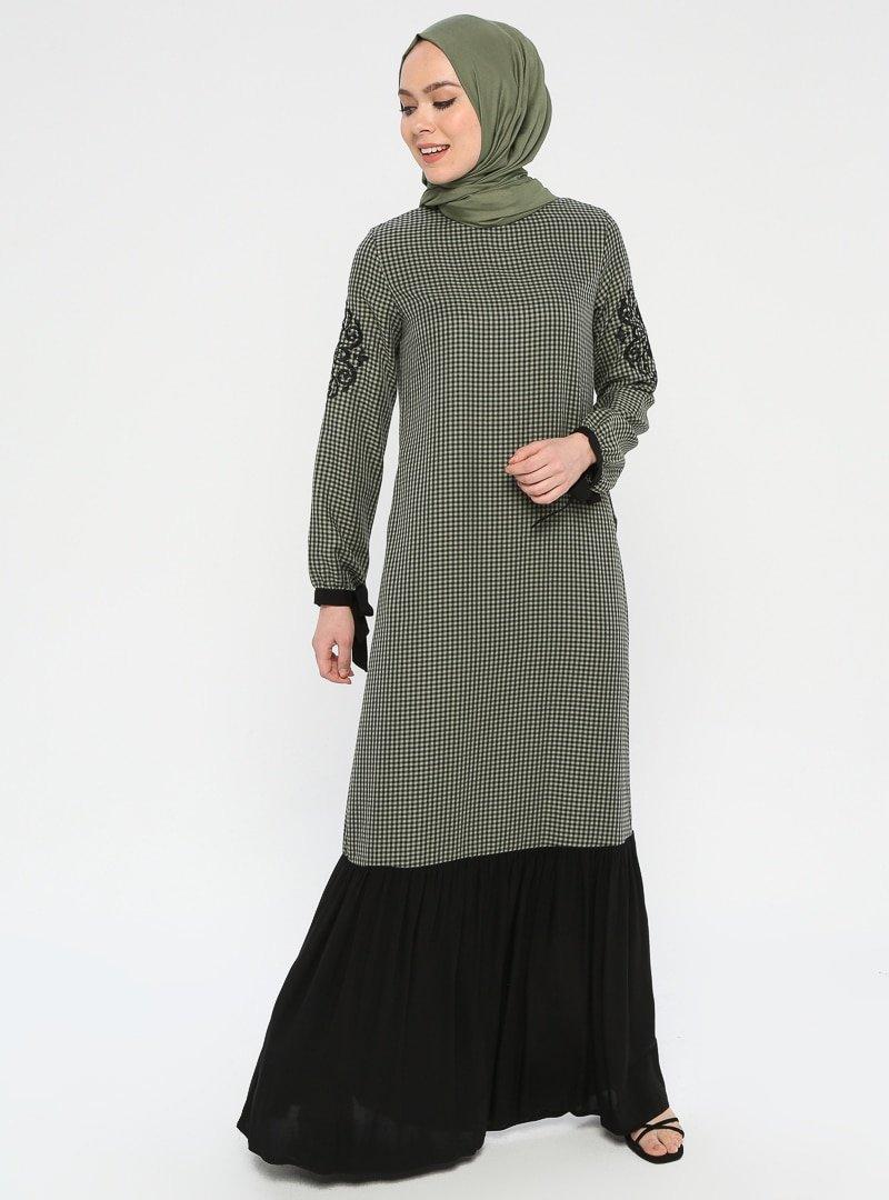 Ginezza Haki Nakış Detaylı Garnili Elbise
