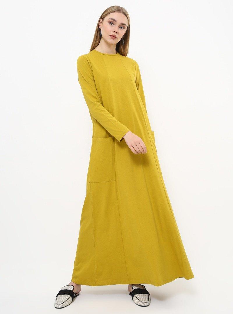Everyday Basic Safran Doğal Kumaşlı Cep Detaylı Elbise