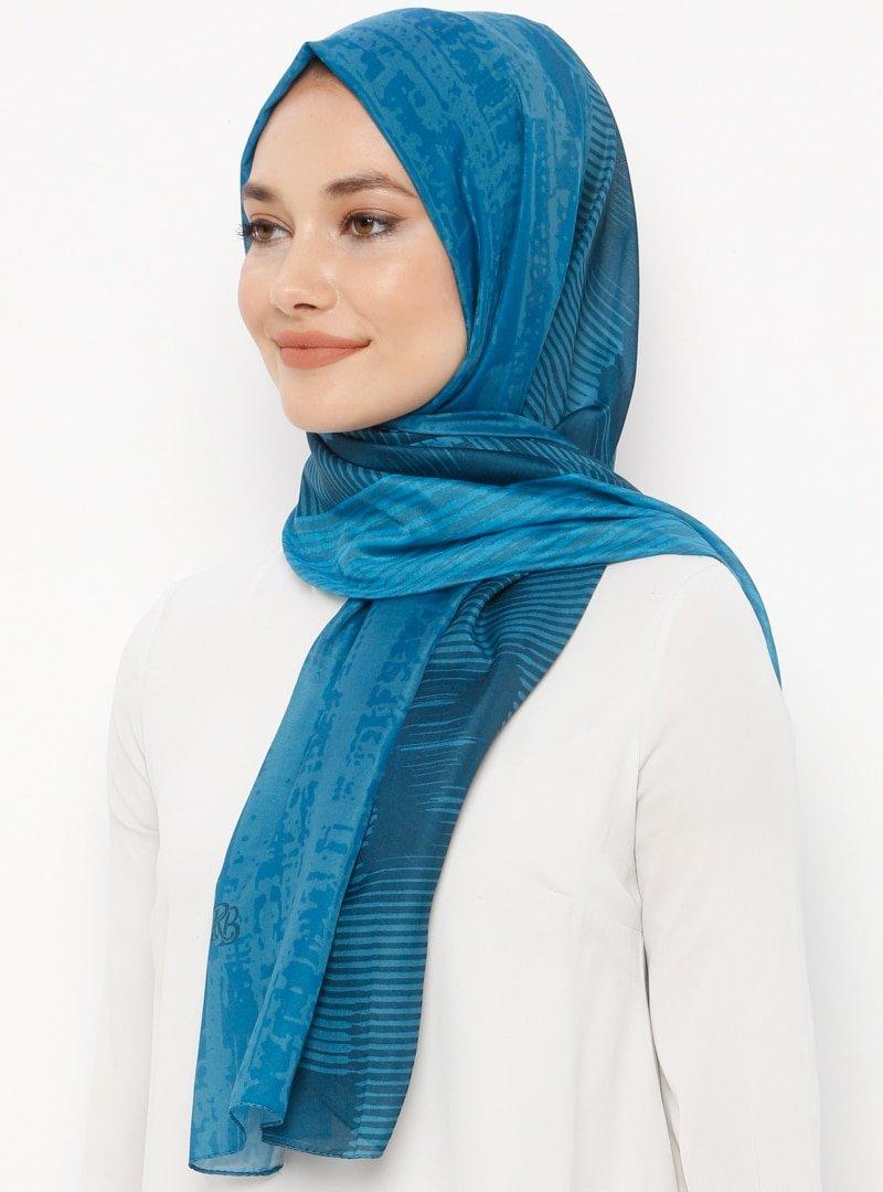 Renkli Butik Mavi Desenli Pamuklu Şal