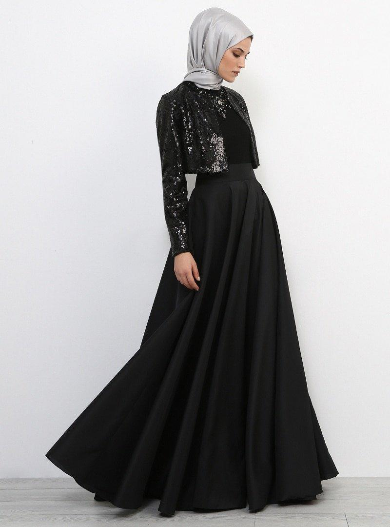 Refka Siyah Payetli Bolero Ceket