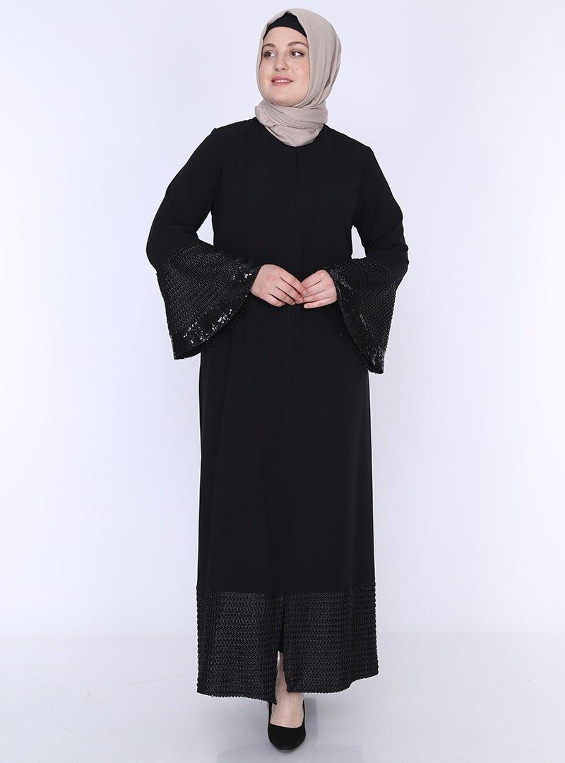 Jamila Siyah Payetli Ferace