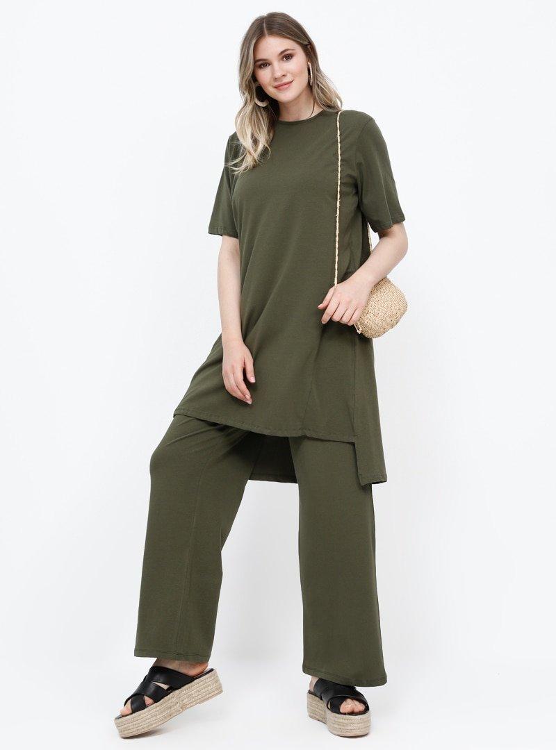 Alia Haki Doğal Kumaşlı Beli Lastikli Pantolon