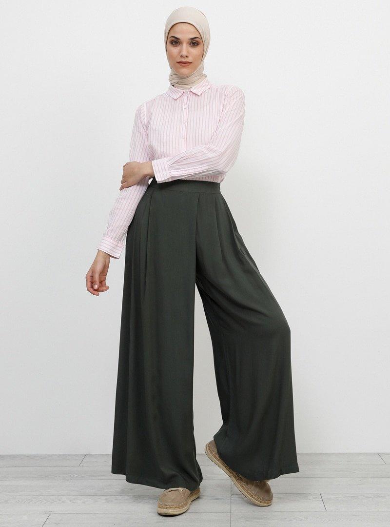 Refka Haki Doğal Kumaşlı Pantolon Etek