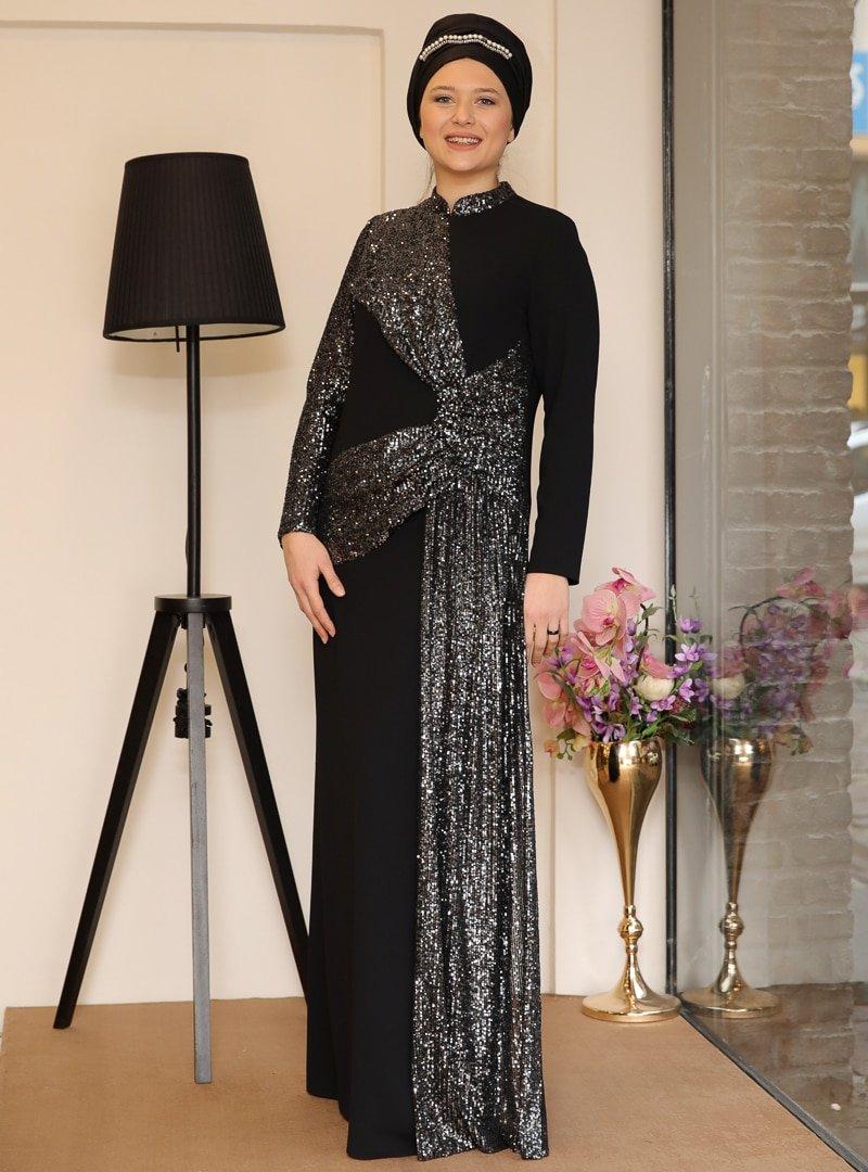 Saliha Siyah Fiyonk Abiye Elbise