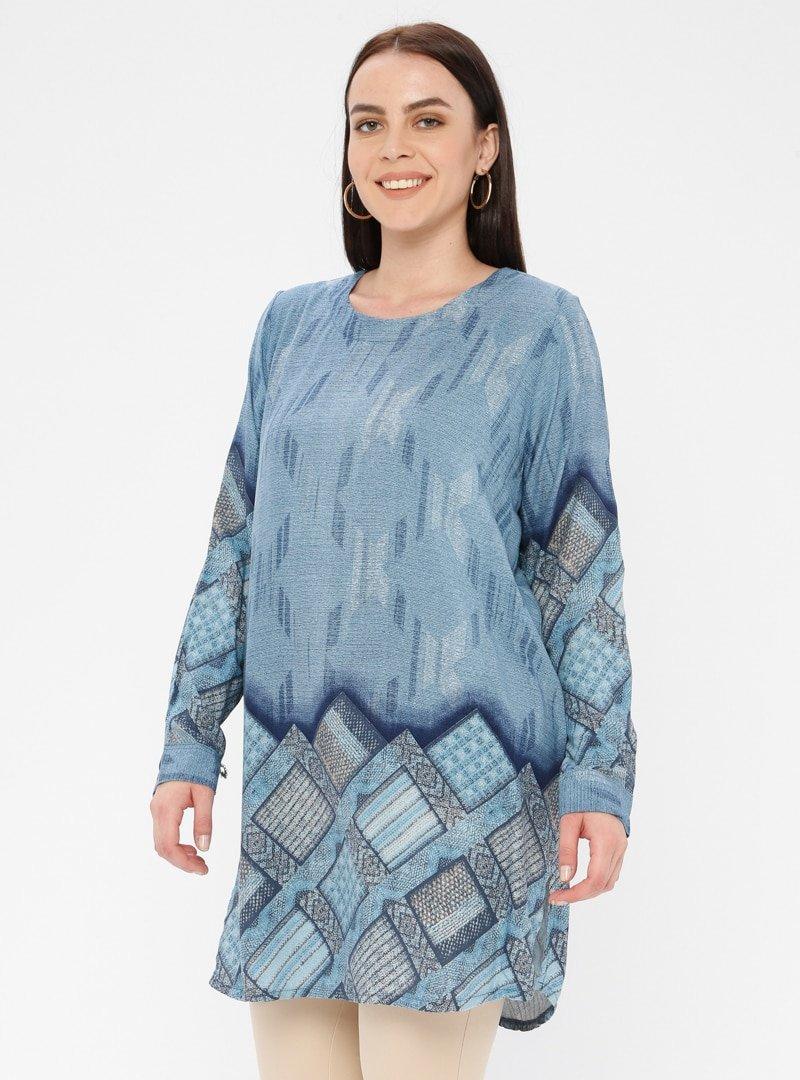 Genç Style Mavi Desenli Tunik