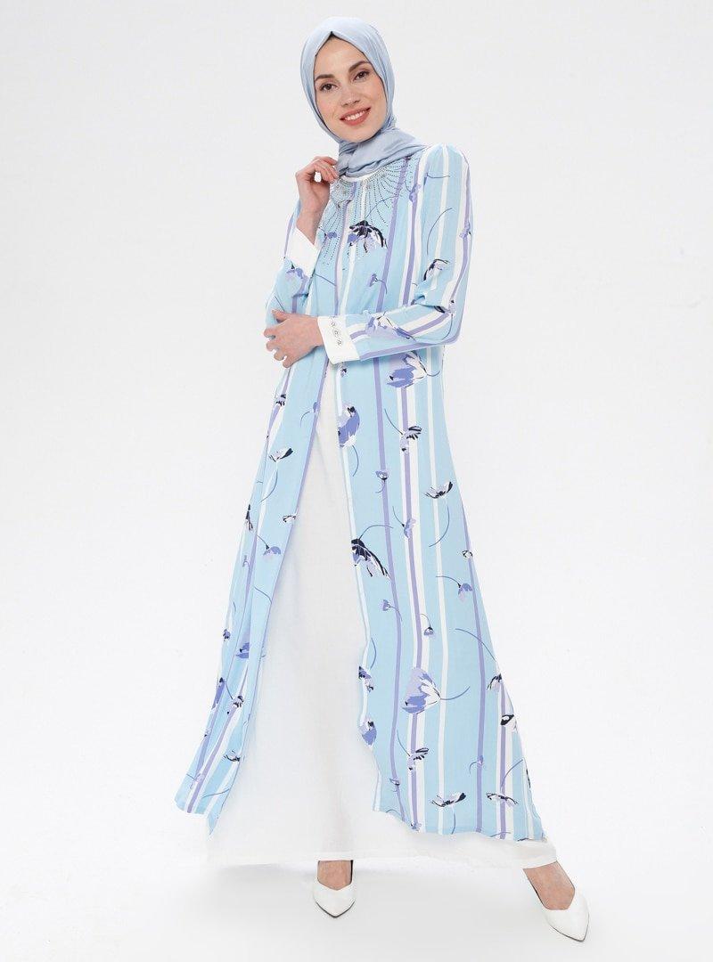 Ginezza Bebe Mavisi Çiçek Desenli Drop Baskılı Elbise
