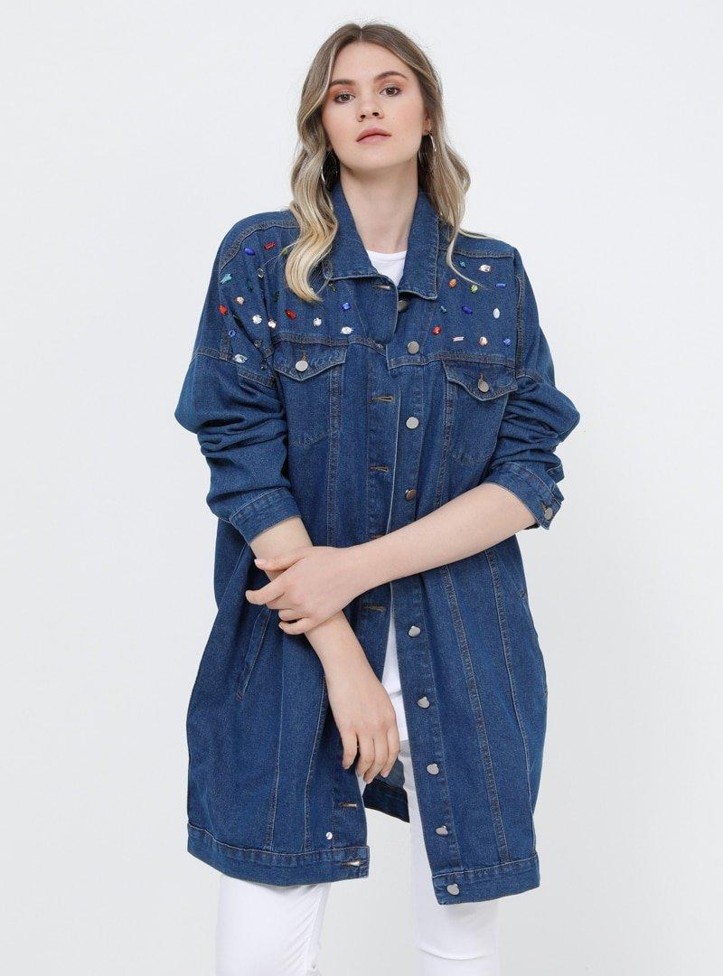 Alia Koyu Mavi Doğal Kumaşlı Taş Detaylı Kot Ceket