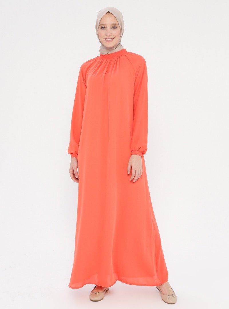 ModaNaz Nar Çiçeği Gipe Detaylı Namaz Elbisesi