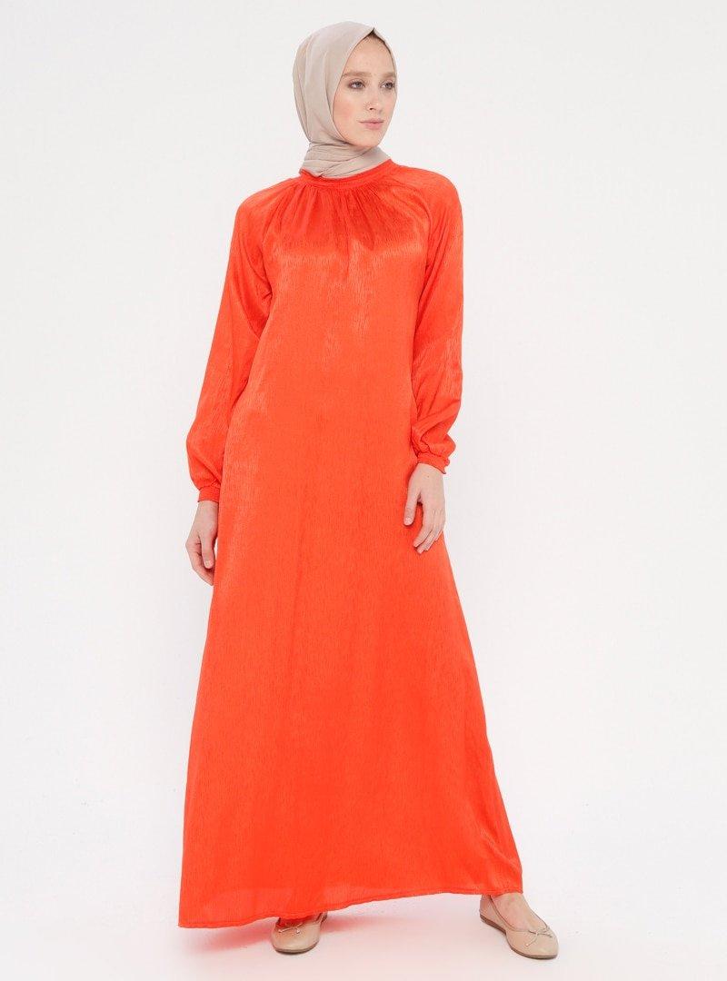 ModaNaz Turuncu Gipe Detaylı Namaz Elbisesi