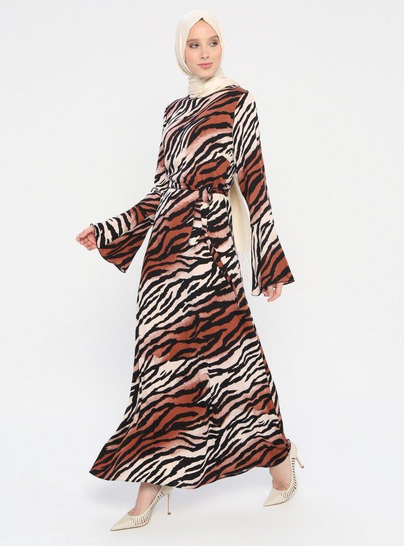 ECESUN Kahverengi Desenli Elbise