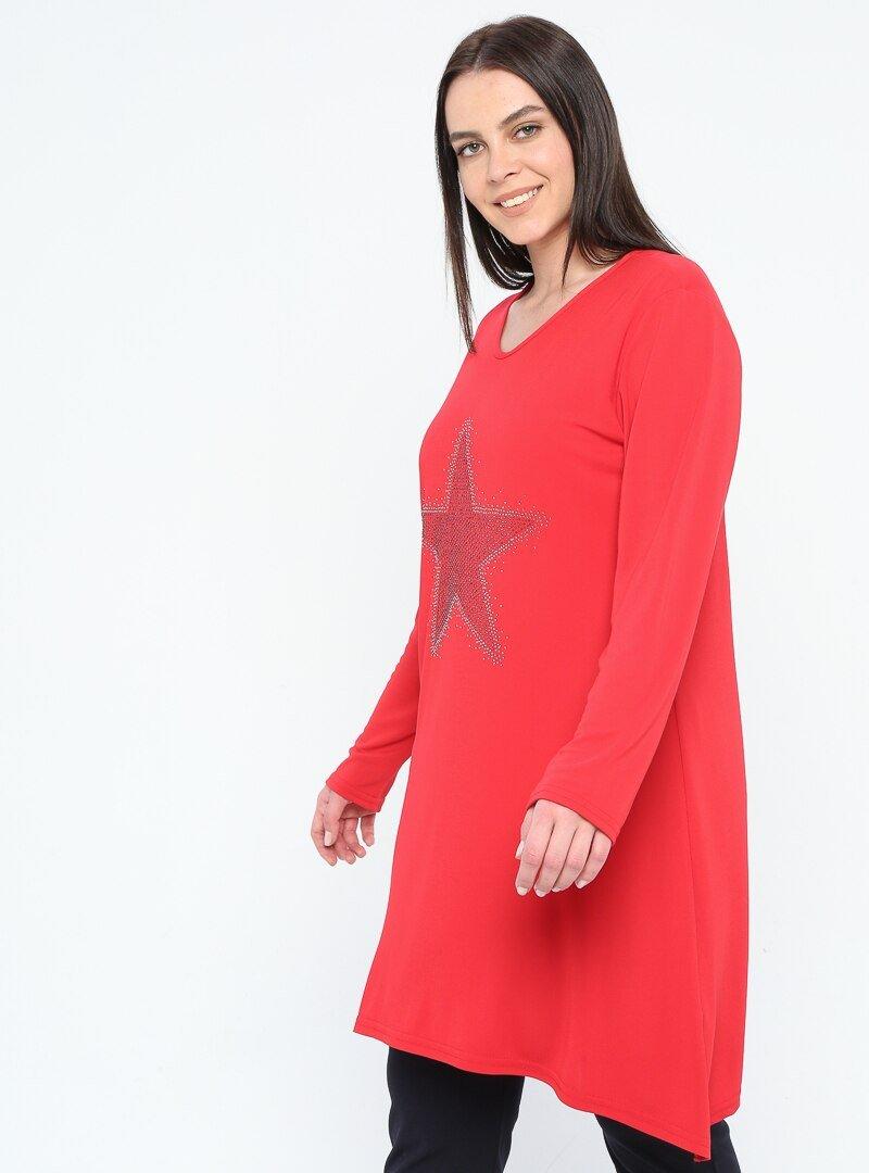 GELİNCE Kırmızı Drop Baskılı Tunik