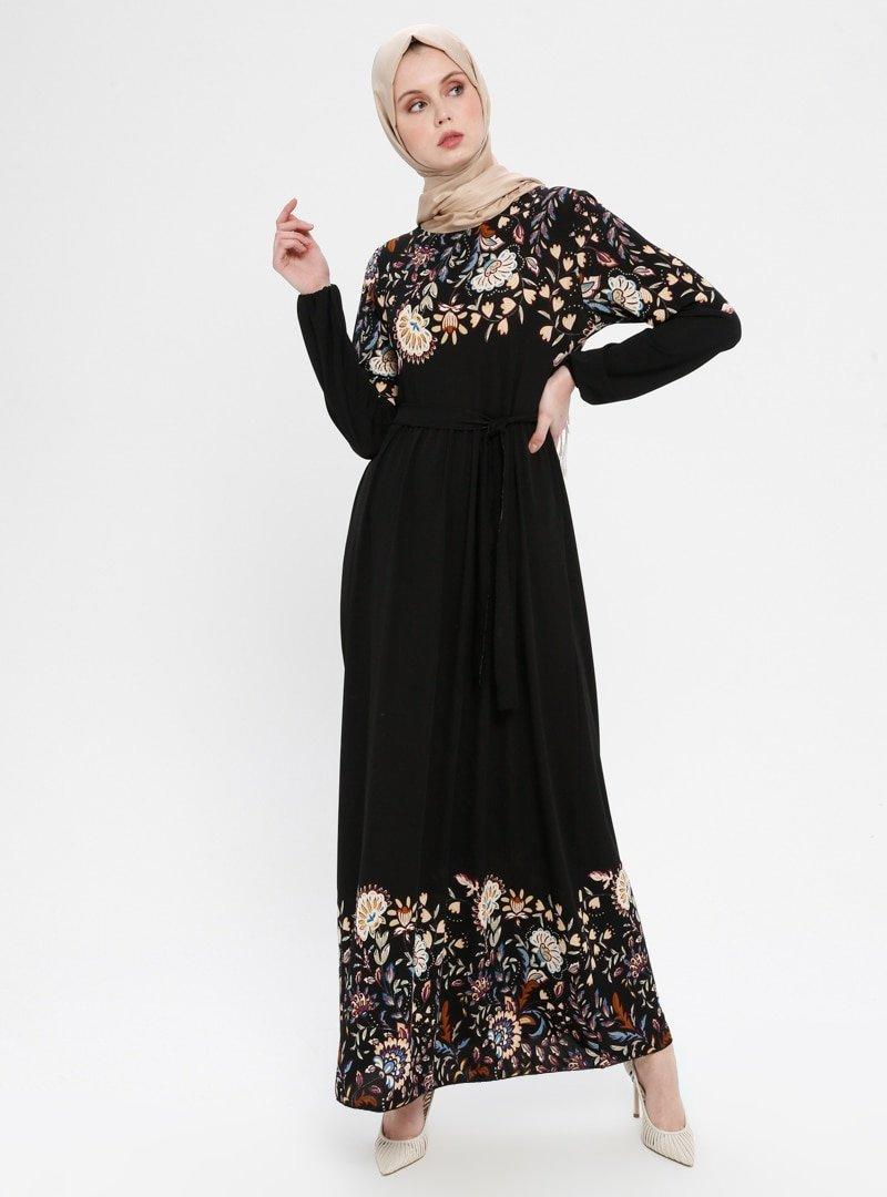 ECESUN Siyah Mor Çiçek Desenli Kemerli Elbise