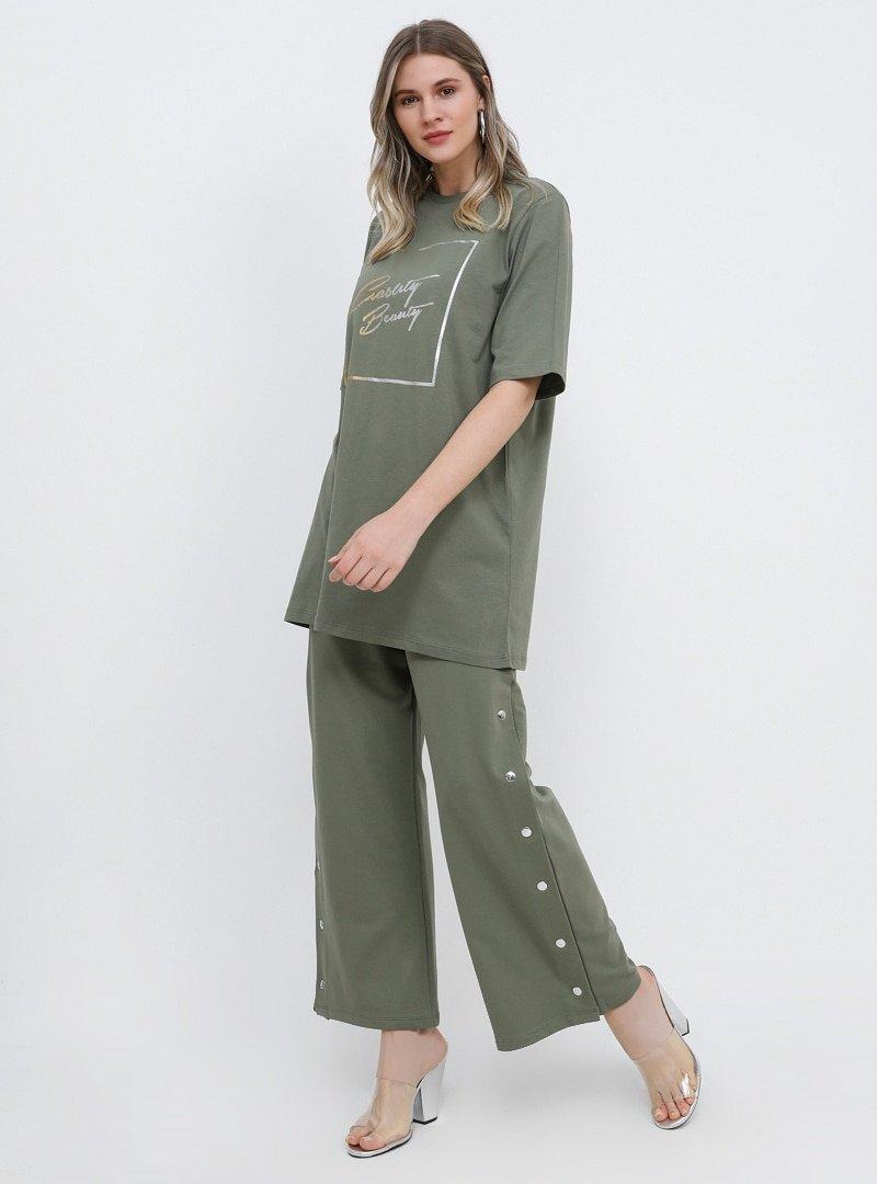 Alia Soft Haki Yanları Çıtçıtlı Pantolon