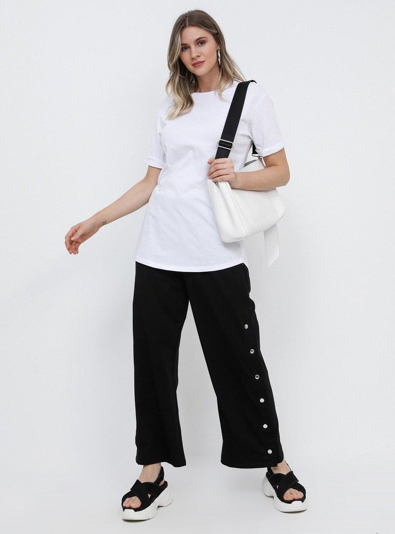 Alia Siyah Yanları Çıtçıtlı Pantolon