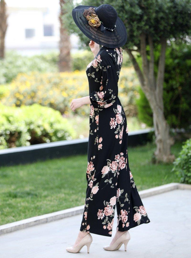 Selma Sarı Design Siyah Somon Çiçek Desenli Tulum