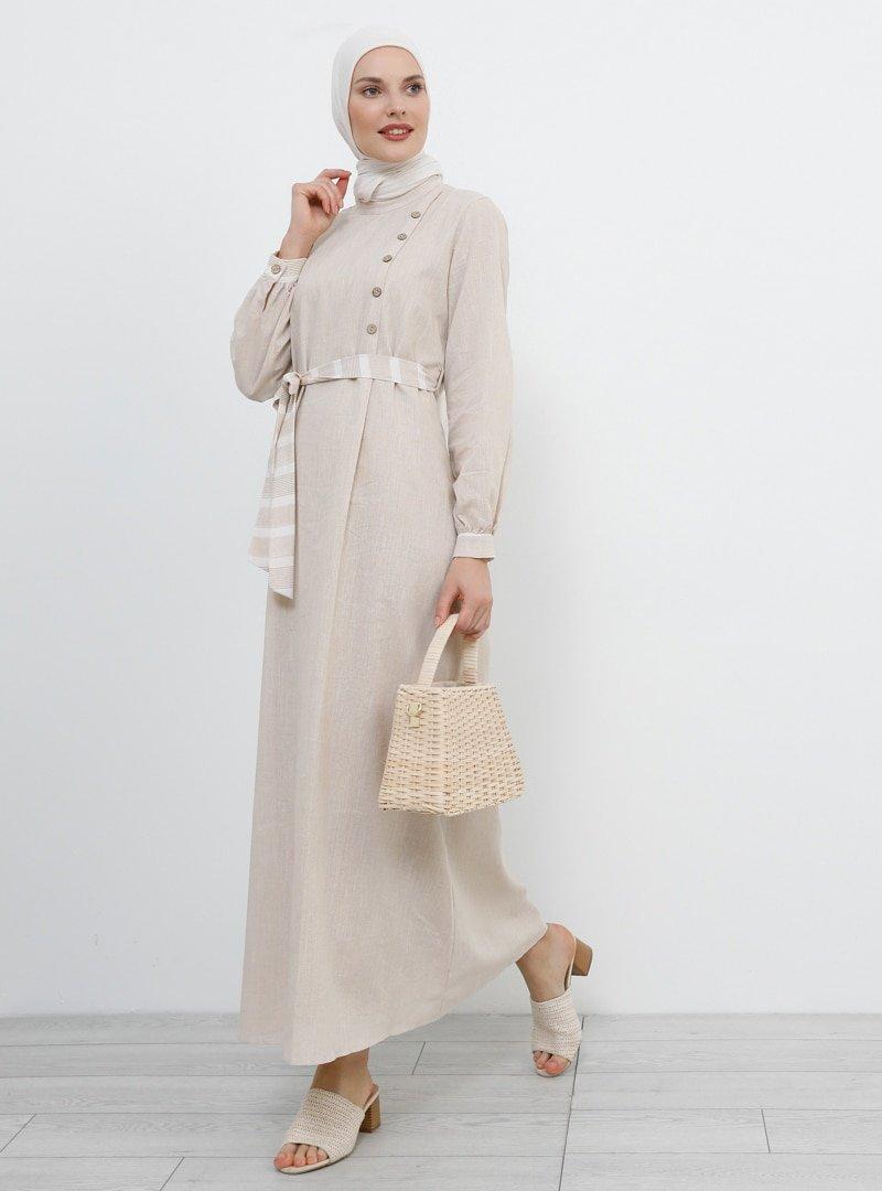 Refka Krem Düğme Detaylı Pamuklu Elbise