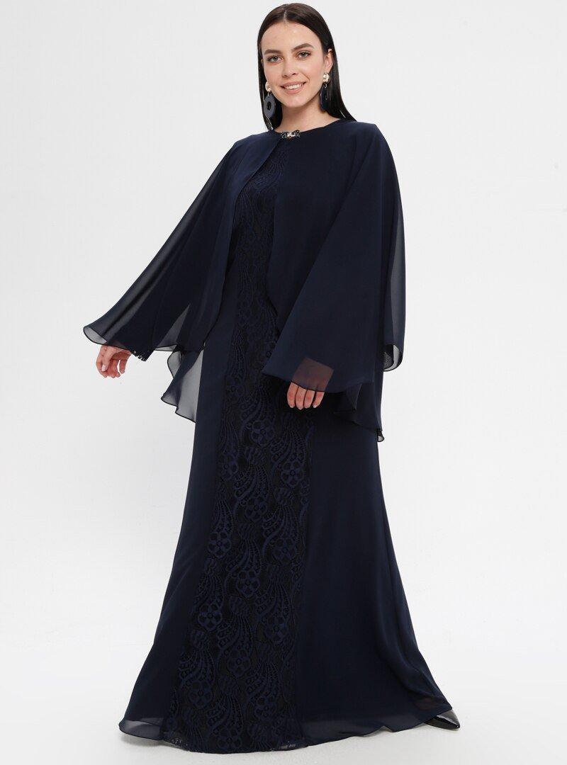 Sevdem Abiye Lacivert Dantelli Abiye Elbise
